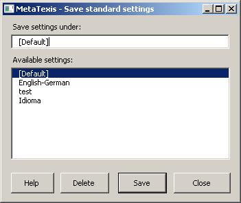 Save Standard Dialog Box